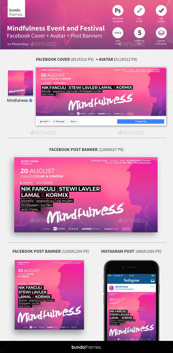 Mindfulness Event and Festival Facebook\/Instagram Banners - advertising timeline template