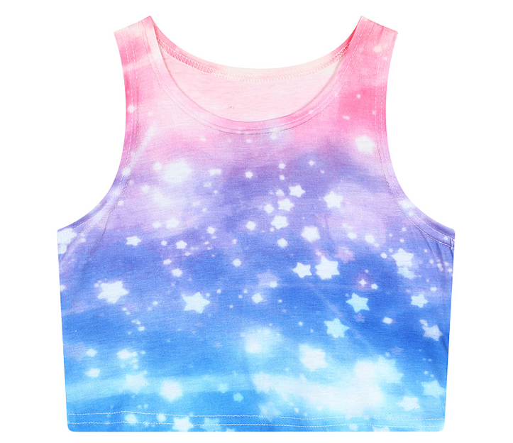 817fbd0e0eb81b Pastel Galaxy Colorful Printed Crop Top One Size Length  37 cm Bust  70-95  cm Please allow 3-7 business days to process the order