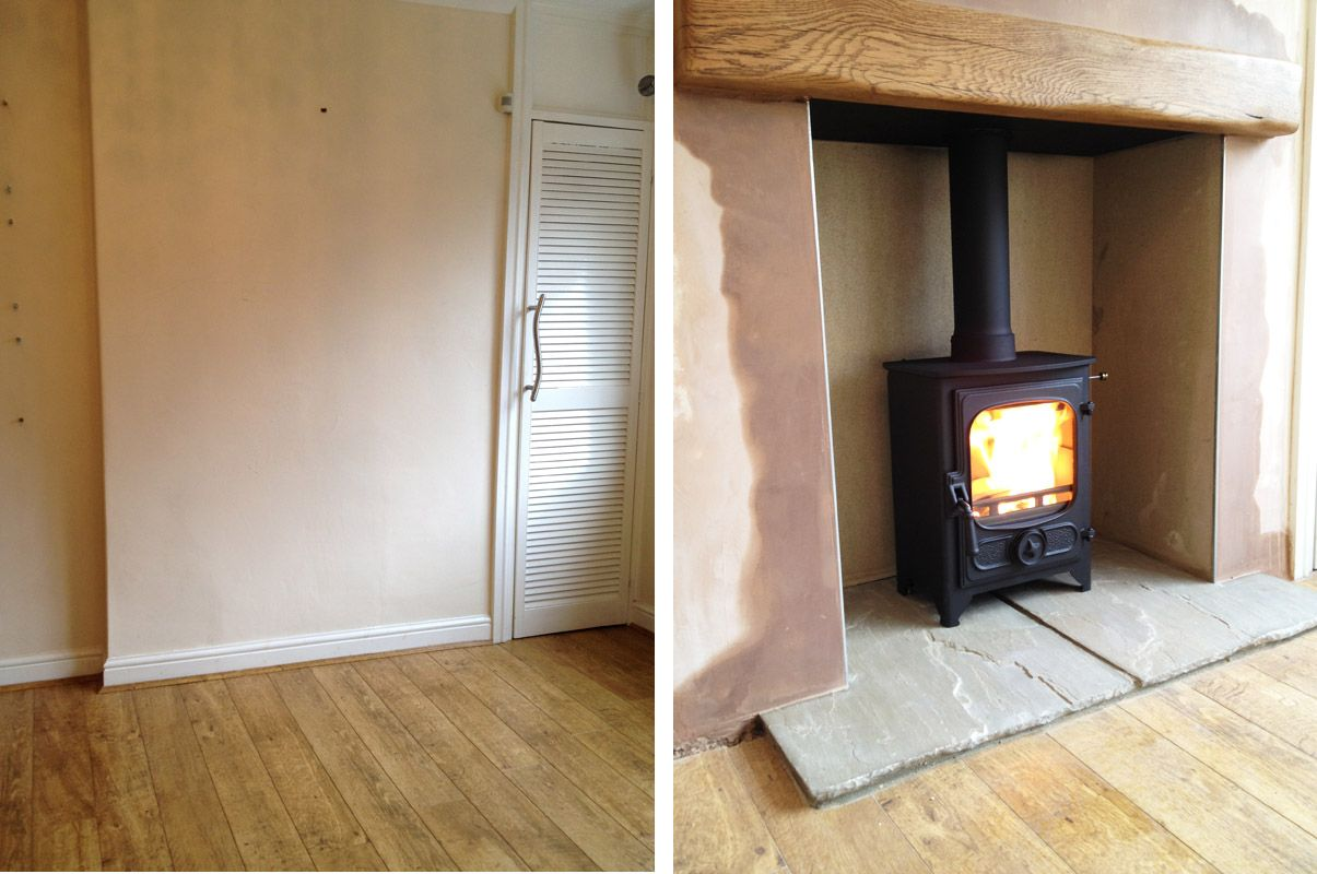 Wood stove surround ideas - Before After Log Burner Fireplacewood