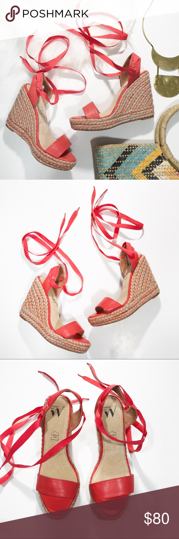 75a16f15eb85 Anthropologie Vanessa Wu Colorful Wedge Sandals Anthropologie Vanessa Wu  Colorful Wedge Sandals. Size 37