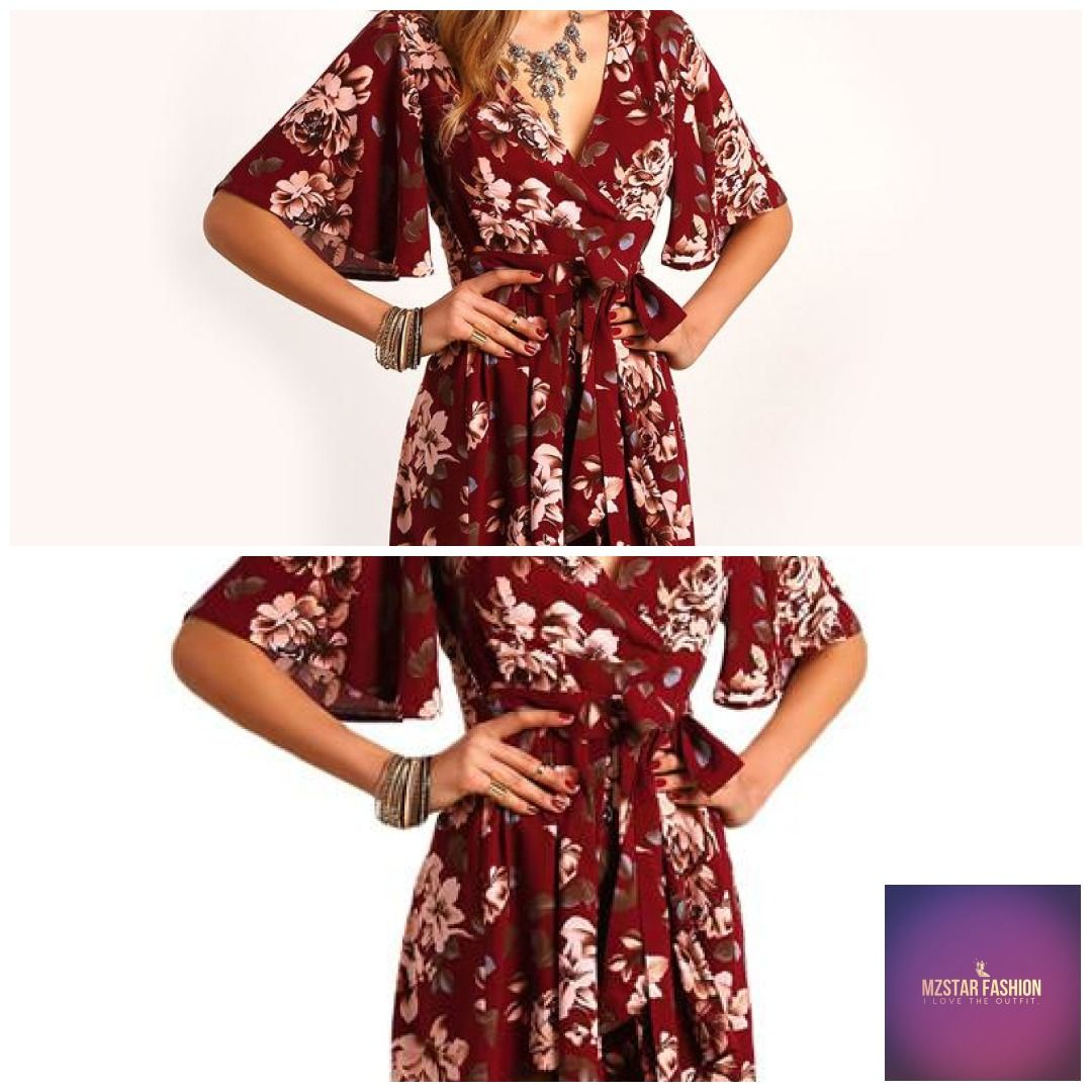 91a76552ce3d SHEIN Shorts Rompers Womens Jumpsuits Summer Ladies Red Sexy Deep V Neck  Short Sleeve Floral Tie