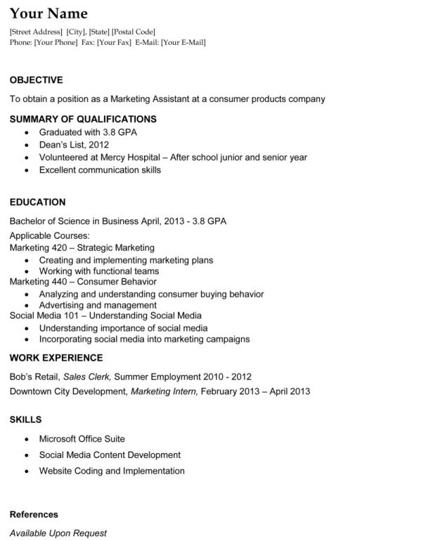 First Resume Objective General Examples Job For A Template Medical