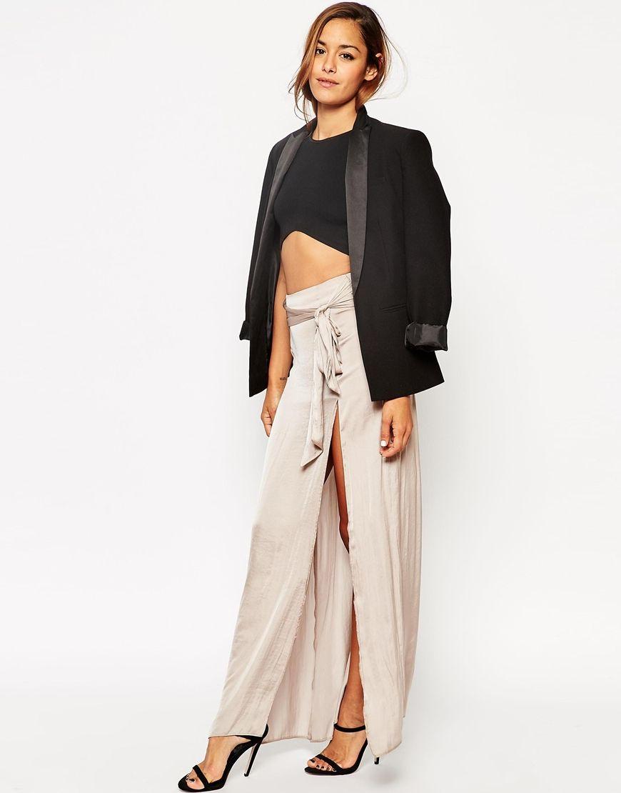 3684c319a8 ASOS Maxi Skirt With Thigh Split and Obi Tie Belt | Fab List | Belt ...