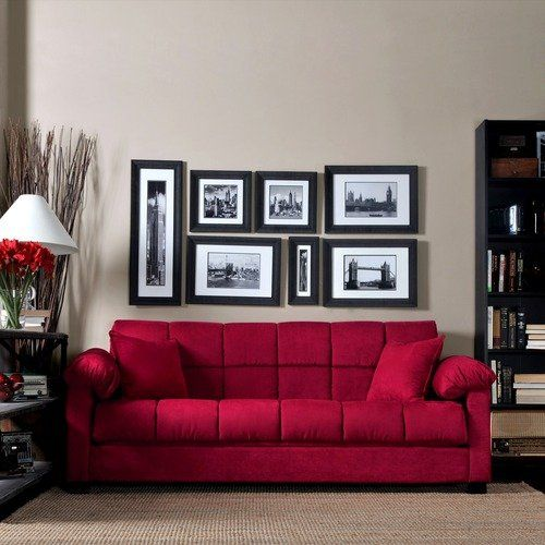Handy Living Convert A Couch Microfiber Sleeper Sofa In Crimson Red Red Sofa Living Room Red Sofa Decorating Living Room Red