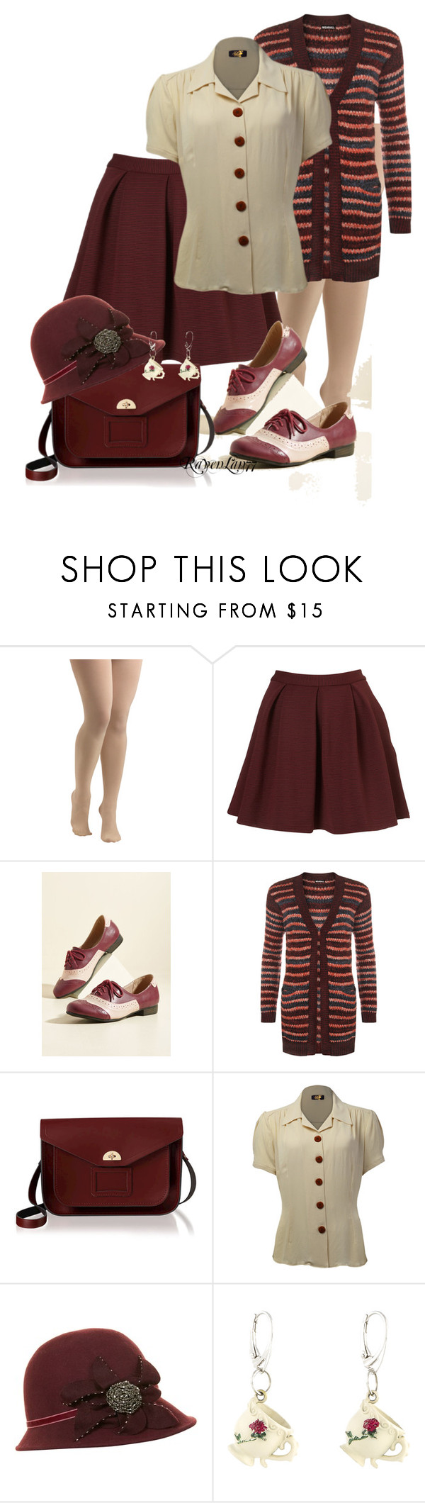 """""""Vintage Inspired Mini Skirt set 6"""" by ravenlancaster ❤ liked on Polyvore featuring Dear Creatures, WearAll, The Cambridge Satchel Company, Dickins & Jones, Christopher Kane, vintage, VintageInspired, oxblood, miniskirts and deepred"""