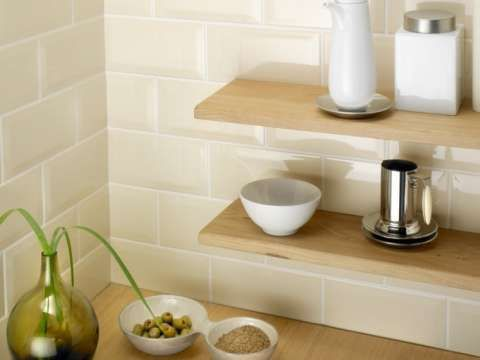 Download Wallpaper Off White Kitchen Wall Tiles