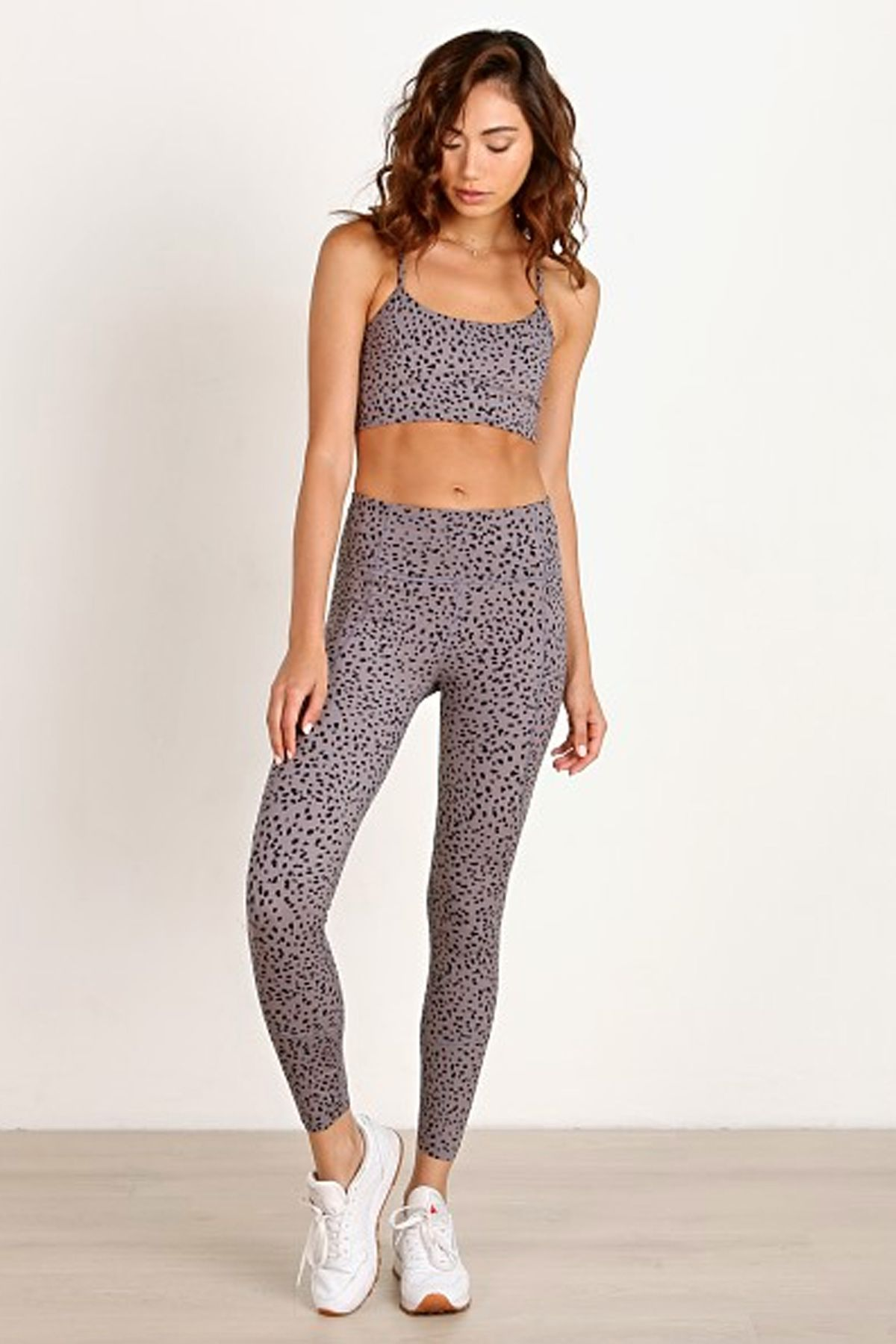 b5565bea084c Varley feliz sports bra and bedford leggings, speckled print activewear,  workout clothes, leopard print workout clothes, labor day sale