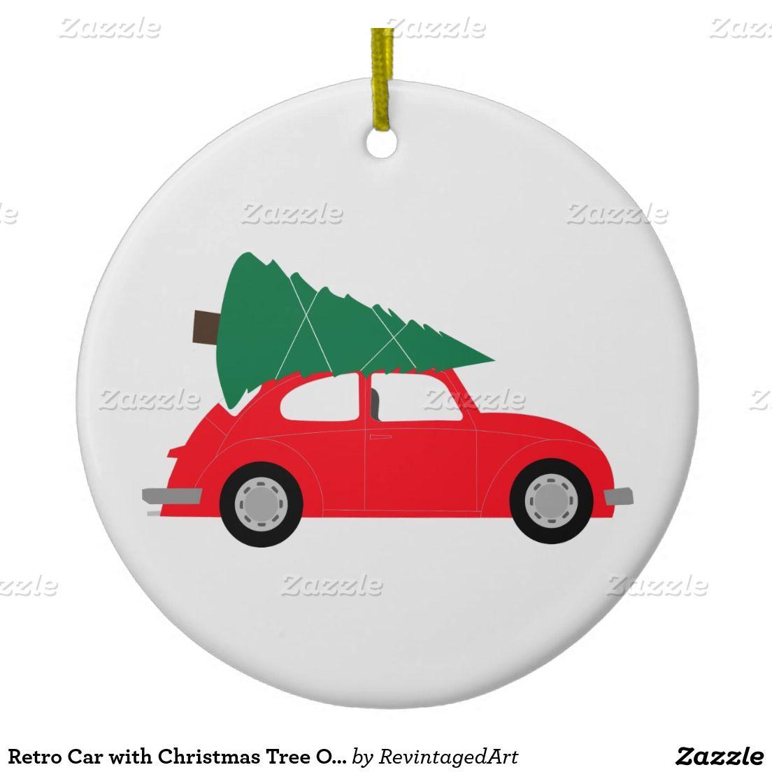 Retro Volkswagen Beetle Christmas Ornament Mid Century