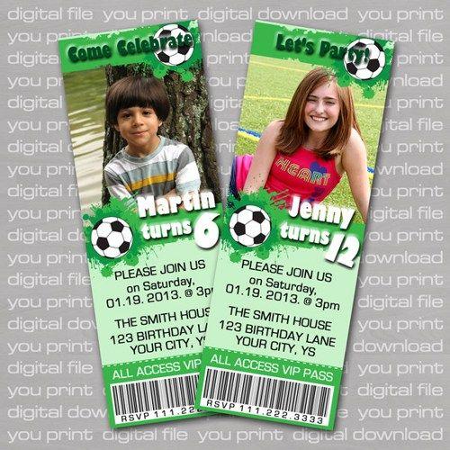 Soccer Theme Birthday Party Ticket Invitation DIY Print – Football Themed Birthday Invitations