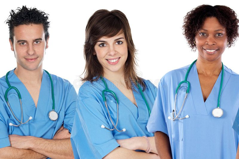 Team of young doctors. A over white background , Ad,