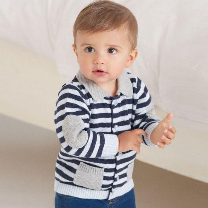 Stripe Smart casual Blue Cardigan  @ Looksgud.in   #Striped #Kids #Style…