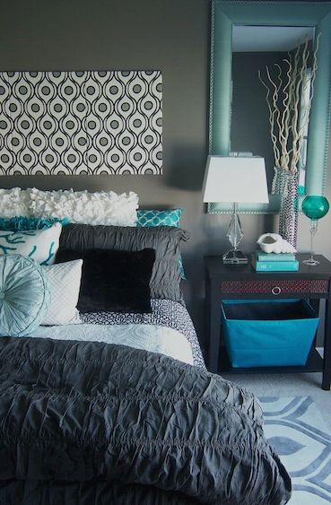 Unique Turquoise And Gray Bedroom Lush Bedding