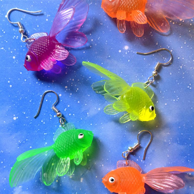 Multicolour Goldfish Earrings - dangle earrings neon plastic soft gummy toys fish