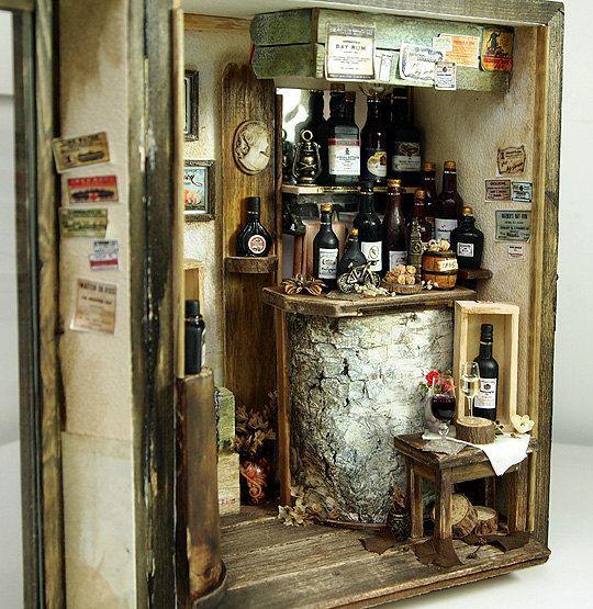 Vintage Small Wine Bar handmade Dollhouse by DollhouseAra on Etsy