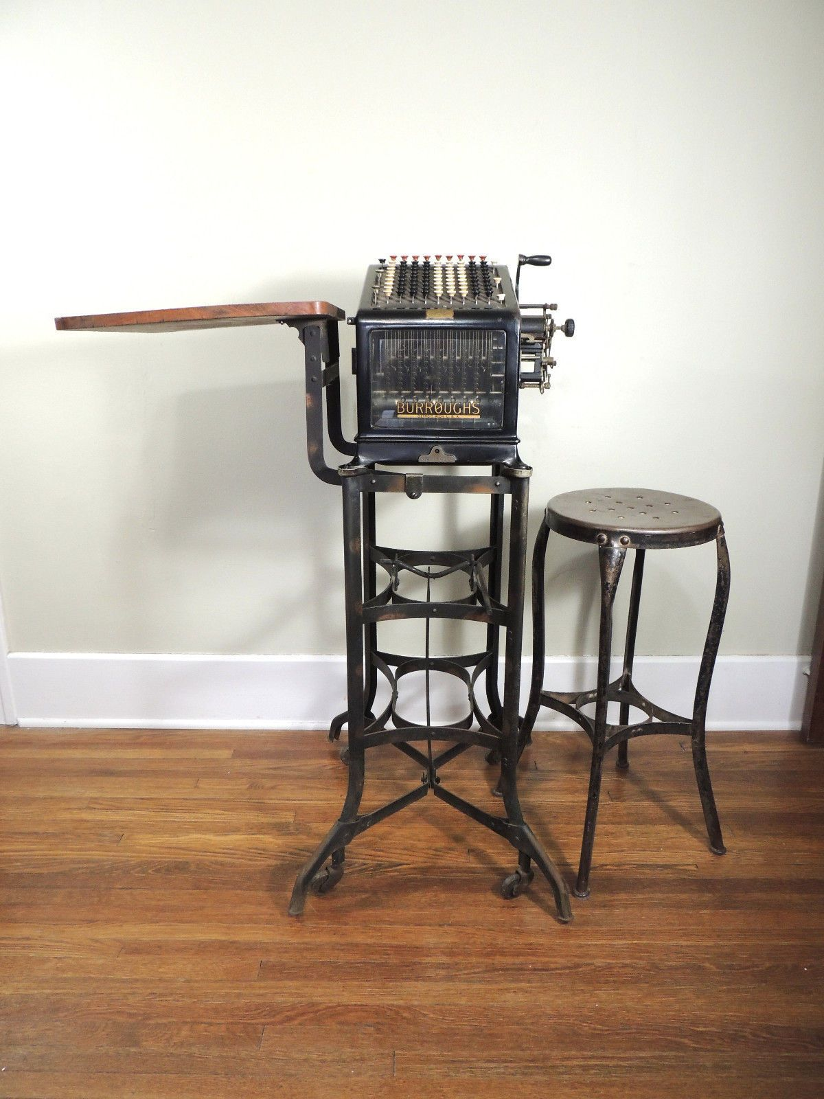 Burroughs Antique Adding Machine with Desk and Chair