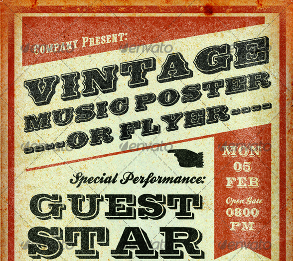 Print-Templates-Vintage-Music-Poster-Template.png (588×525) | RM ...