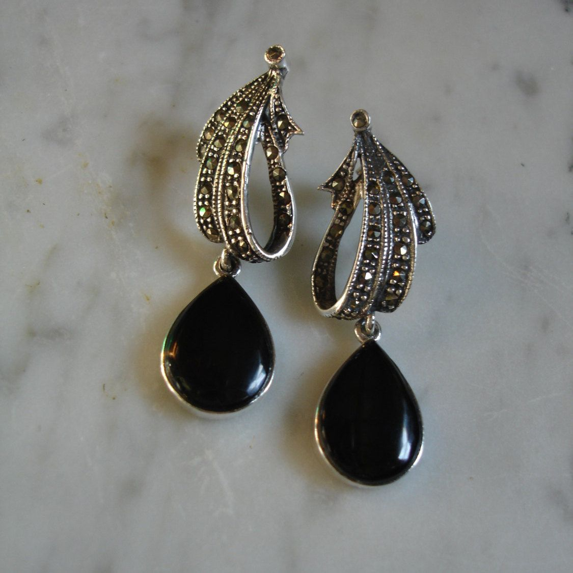 Marcasite Earrings Black Onyx Post Vintage 925 Drop Ribbon By 23littlewishes On Etsy