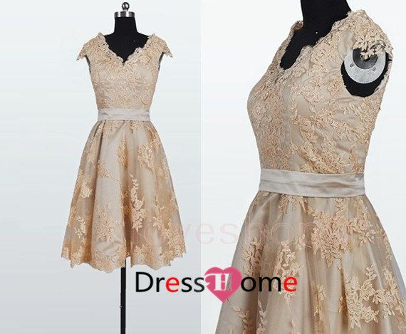 New Lace Bridesmaid Dres  Champagne Bridesmaid Dress by DressHome, $169.99