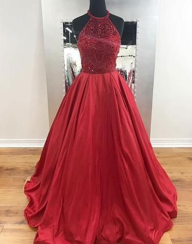 5cff5af21dd A-line red satin beaded top halter 2017 long prom dress