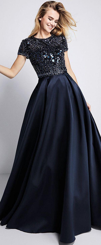 Graceful satin jewel neckline short sleeves aline prom dress with