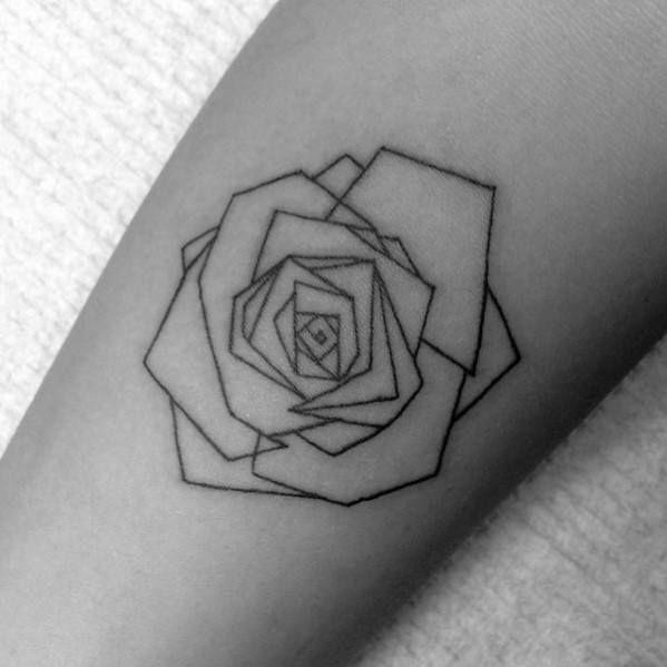40 geometric rose tattoo designs for men flower ink ideas simple rose tattoo for men. Black Bedroom Furniture Sets. Home Design Ideas
