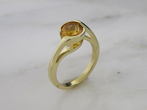 14 K Yellow Gold Citrine Fashion Ring