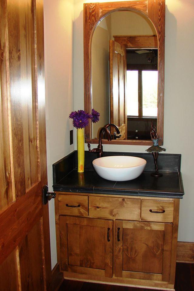Danze Fairmont Vessel Filler with D'Vontz Sphere Vessel Sink and Emtek Sandcast Bronze Cabinet Hardware