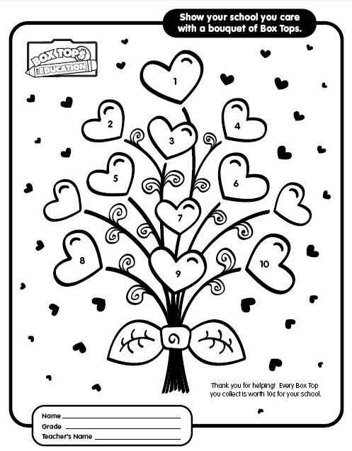 Orsett hall valentines day printable coloring pages ~ box tops collection sheets | Tag Archives: Valentine Box ...