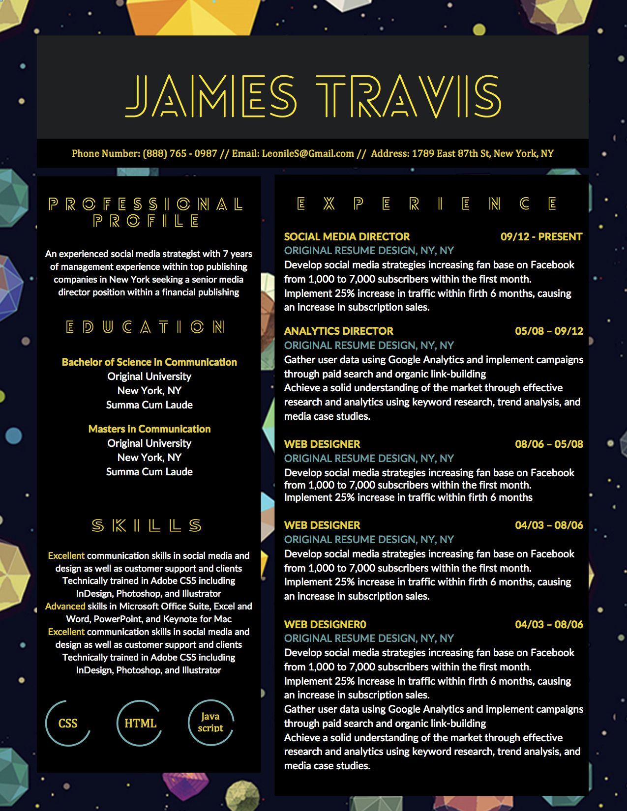 James Travis Creative Gamer Resume Template For Microsoft Word