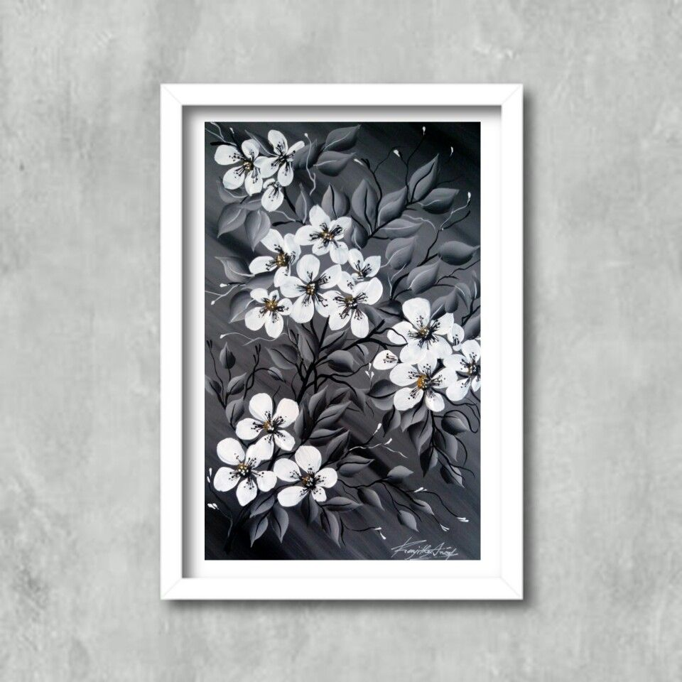 Black White Acrylic Painting Simple Acrylic Paintings Black And White Painting Painting