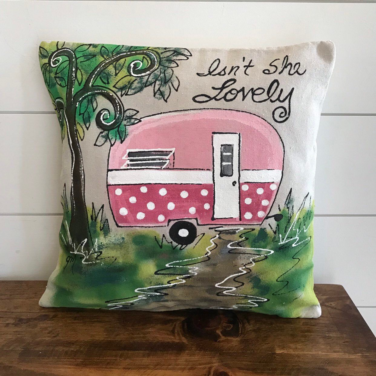 Vintage Camper Pink Personalized Hand Painted Handmade Throw