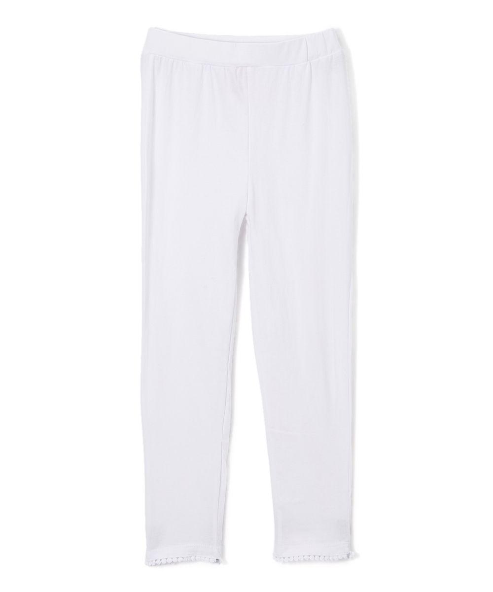 Dreamstar White Ball-Trim Capri Pants & Girls - Toddler & Girls ...