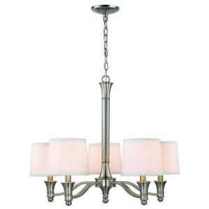 5 Light Brushed Nickel Chandelier With White Fabric Shades