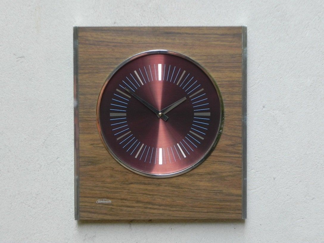 Large Modern Kitchen Wall Clocks: Large Mid-Century Modern Wooden Wall Clock With Chrome By