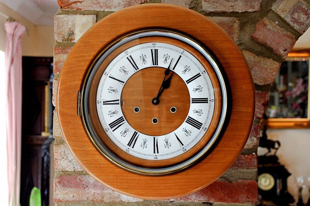 Vintage unusual smiths light oak 8 day wall clock with westminster vintage unusual smiths light oak wall clock with westminster chimes aloadofball Choice Image