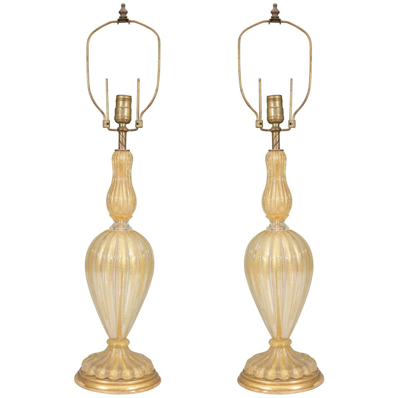 Midcentury Pair Of Gold Colored Murano Glass Barovier U0026 Toso Table Lamps