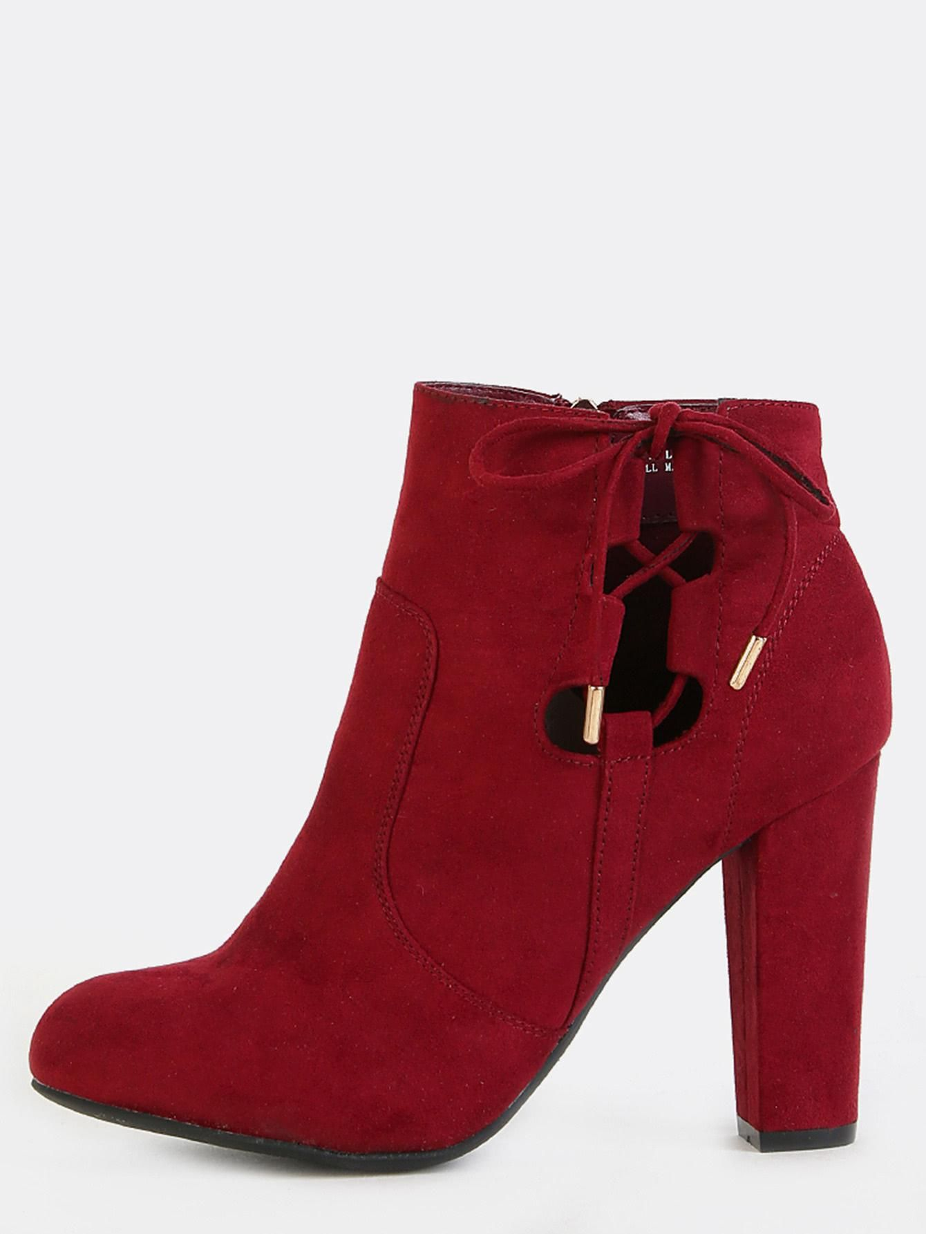 #AdoreWe #MakeMeChic MAKEMECHIC Faux Suede Chunky Heel Ankle Boots BURGUNDY - AdoreWe.com