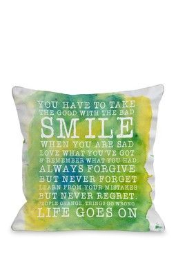 Smile Life Goes On Square Pillow - Green/Multi