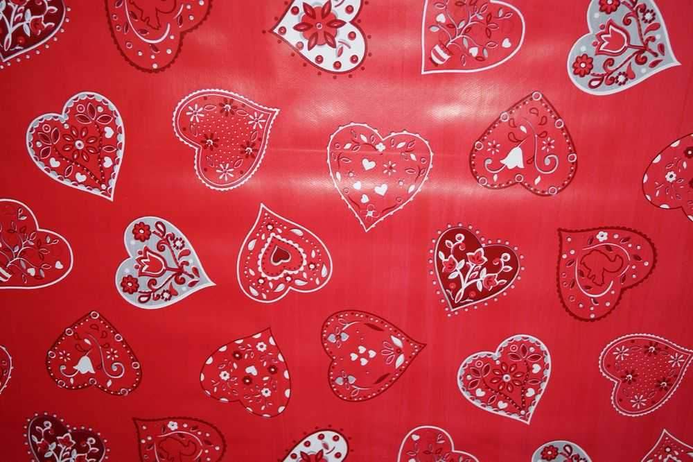 Wipe clean red floral hearts pvc tablecloth vinyl fabric oilcloth