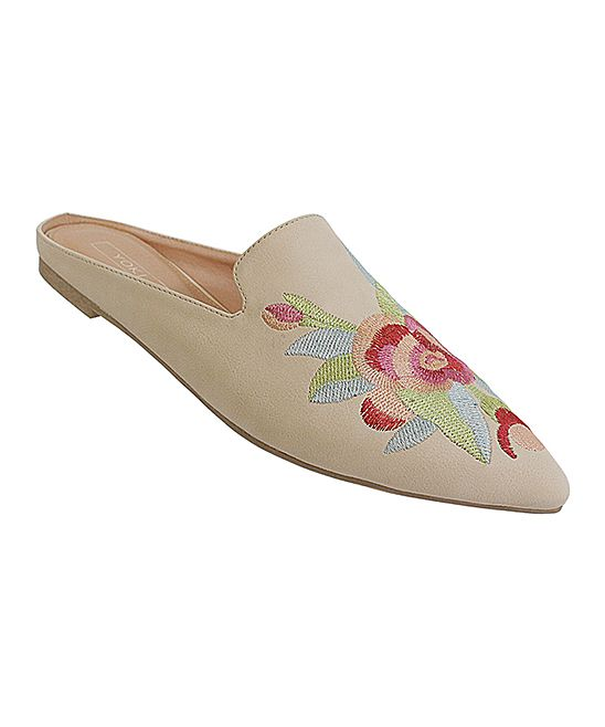 Beige Floral Embroidered Urban Mule