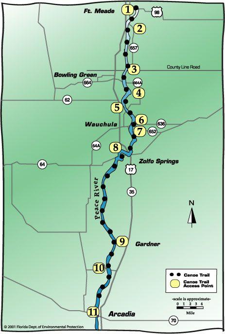Arcadia Florida Map.Map Of Peace River Treasure Trove Fossil Hunting Florida Fossils