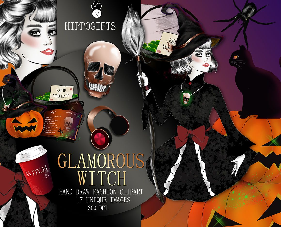 Halloween clipart, Witch clipart, Pumpkin clipart By