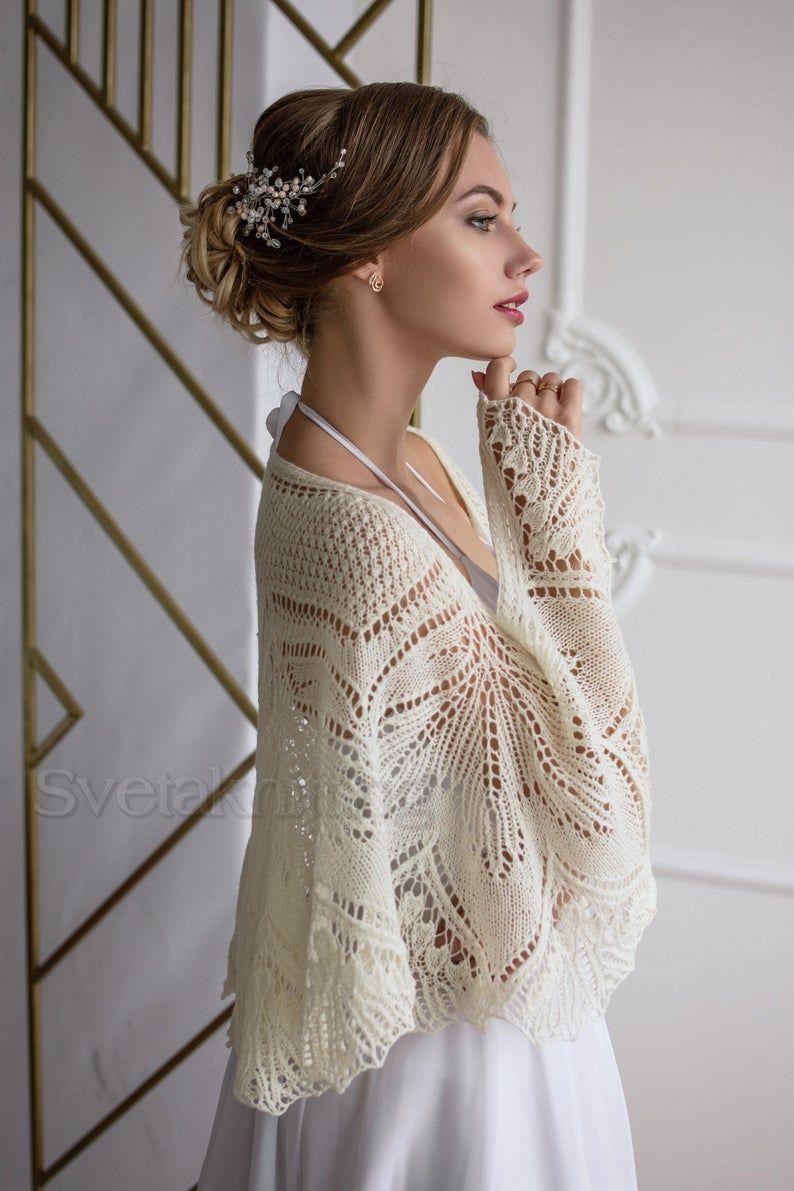 Hand Knitted Ivory Wedding Shawls And Wraps White Cape For Etsy In 2020 Shawls And Wraps Wedding Shawl Bridesmaid Shawl