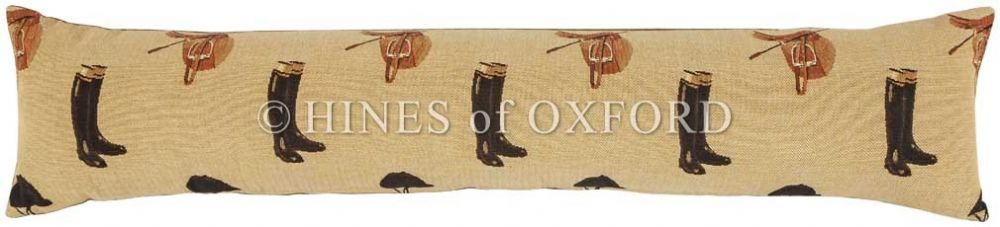 Equestrian Beige - Fine Tapestry Draught Excluder - Extra Long Fine Woven Tapestry Draught Excluder finished with luxurious British velvet back