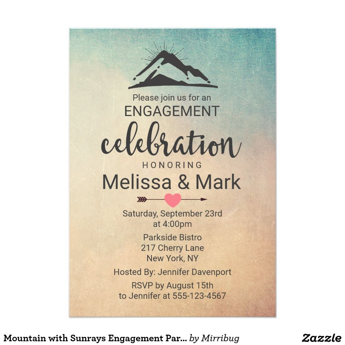 Mountain with Sunrays Engagement Party Invite   zazzle invitations ...