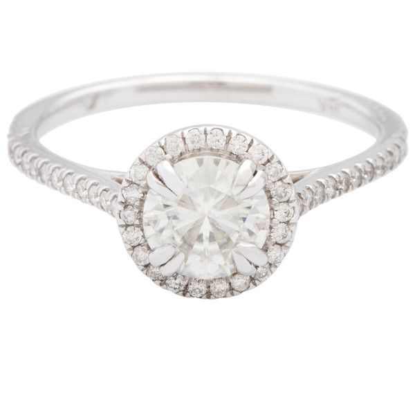 Annello 14k White Gold Moissanite and 1/4ct TDW Round Diamond... ($665) ❤ liked on Polyvore featuring jewelry, rings, silver, white ring, engagement rings, band engagement rings, 14k white gold ring and round cut rings
