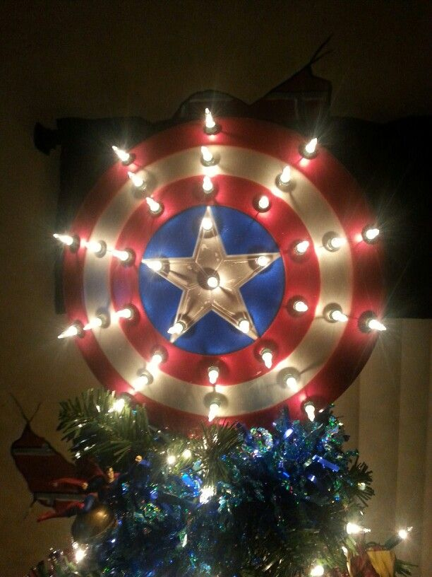 Captain America Shield Tree Topper Christmas Tree Decorating Themes Superhero Christmas Christmas Tree Themes