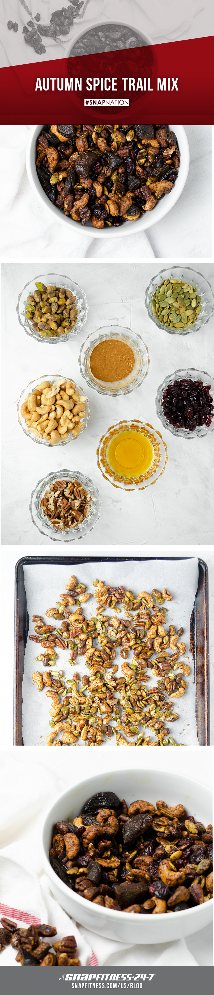 There is nothing quite as cozy as cuddling on the couch with a warm cup of cider on a fall evening. Take your cozy night to the next level with this Autumn Spice Trail Mix filled with your favorite fall flavors. Visit our blog for the recipe.