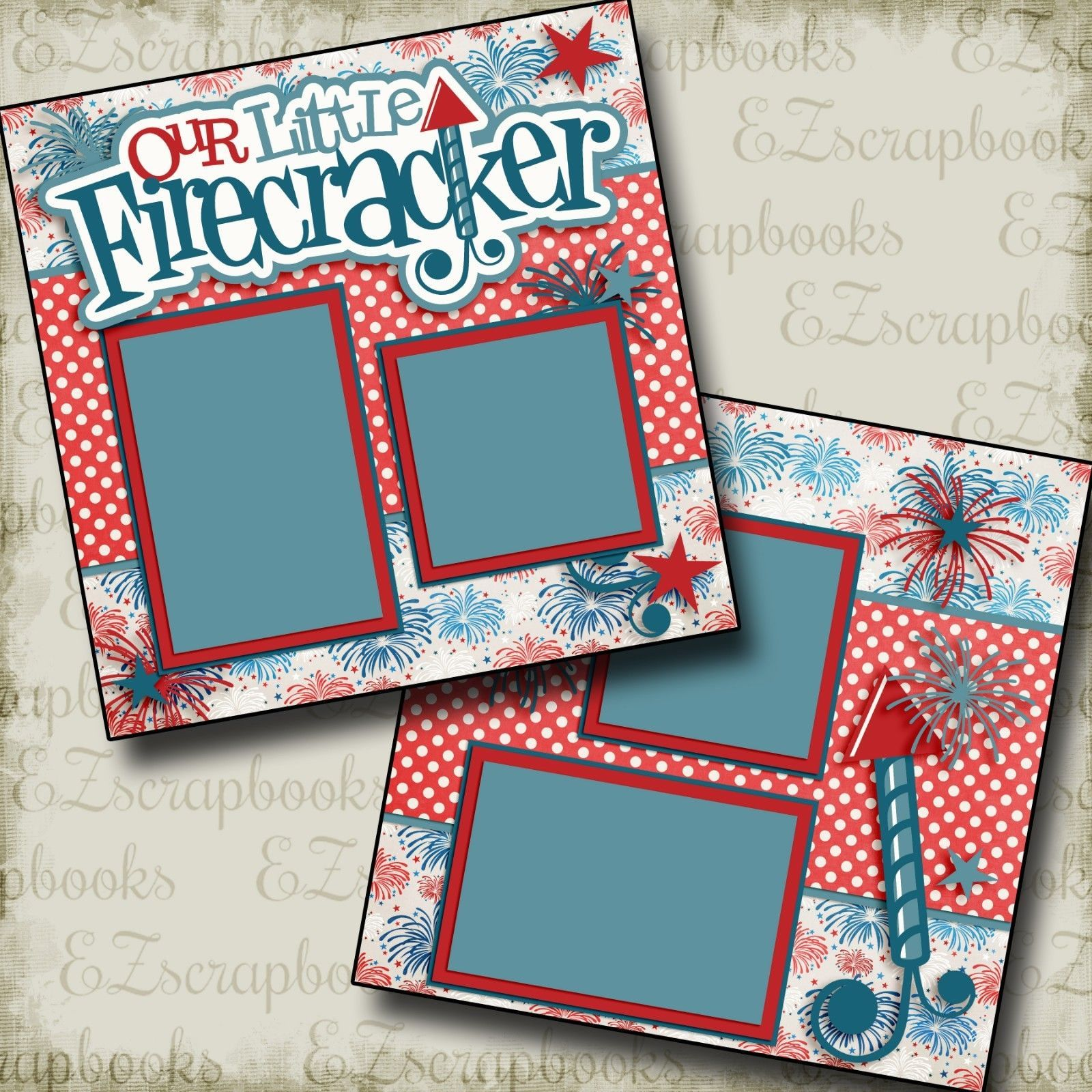Premade Scrapbook Pages FUN ON THE 4TH EZ Layout 2138