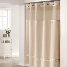 HooklessR Escape Taupe 71 W X 74 L Fabric Shower Curtain And Liner Set